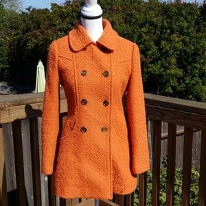 Tulle Orange Pea Coat, Size: Small